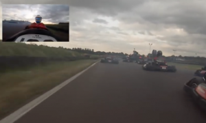 Watch Alonso go from last to first in a kart race