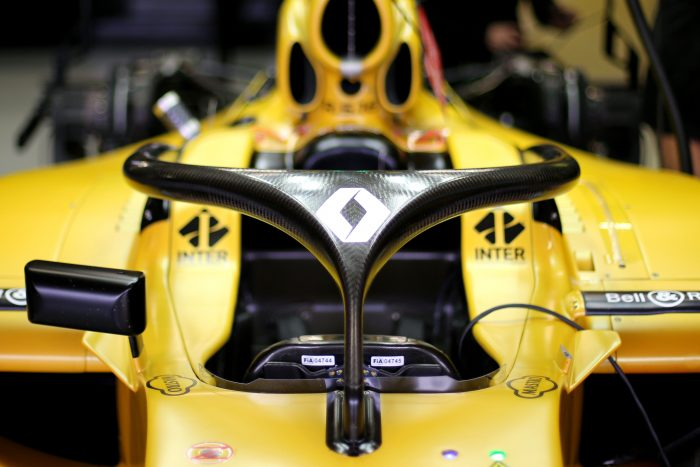 Halo cockpit protection device fitted to a Renault