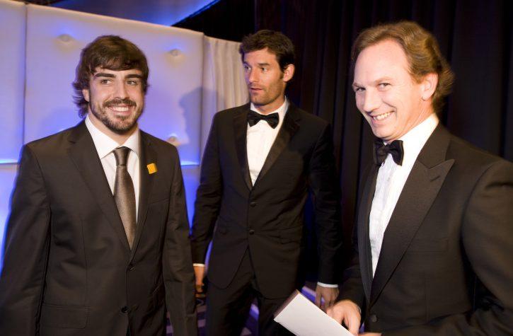 Fernando Alonso, Ferrari, Mark Webber, Red Bull and Red Bull Team Principal Christian Horner