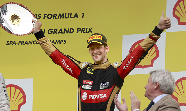 Grosjean celebrates!