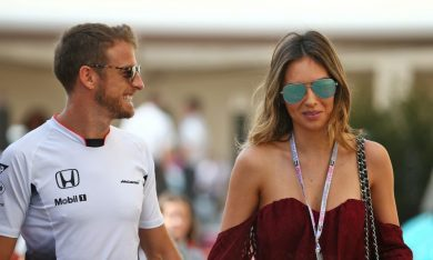 Jenson Button with his girlfriend Brittny Ward