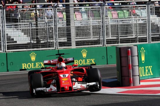 Sebastian Vettel (GER) Ferrari SF70H. 25.06.2017. Formula 1 World Championship, Rd 8, Azerbaijan Grand Prix, Baku Street Circuit, Azerbaijan, Race Day. - www.xpbimages.com, EMail: requests@xpbimages.com - copy of publication required for printed pictures. Every used picture is fee-liable. © Copyright: Photo4 / XPB Images