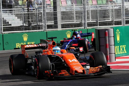 Fernando Alonso (ESP) McLaren MCL32. 25.06.2017. Formula 1 World Championship, Rd 8, Azerbaijan Grand Prix, Baku Street Circuit, Azerbaijan, Race Day. - www.xpbimages.com, EMail: requests@xpbimages.com - copy of publication required for printed pictures. Every used picture is fee-liable. © Copyright: Photo4 / XPB Images
