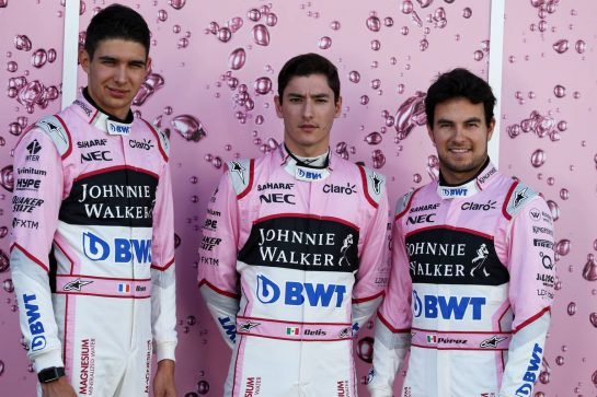 (L to R): Esteban Ocon (FRA) Sahara Force India F1 Team with Alfonso Celis Jr (MEX) Sahara Force India F1 Development Driver and Sergio Perez (MEX) Sahara Force India F1.