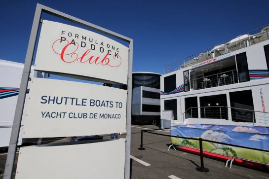 Paddock Club sign offering shuttle boats to Monaco!