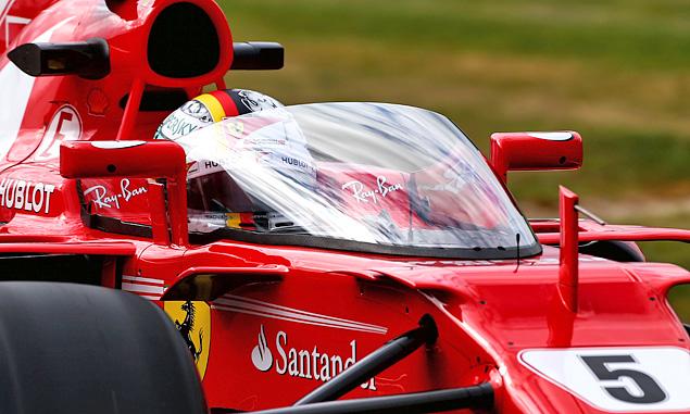 The new Shield Device atached to Sebastian Vettel's Ferrari at the British Grand Prix