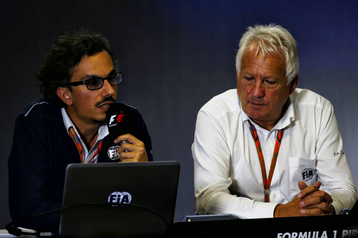 (L to R): Laurent Mekies (FRA) FIA Safety Director with Charlie Whiting (GBR) FIA Delegate in a FIA Press Conference. 27.07.2017. Formula 1 World Championship, Rd 11, Hungarian Grand Prix, Budapest, Hungary, Preparation Day. - www.xpbimages.com, EMail: requests@xpbimages.com - copy of publication required for printed pictures. Every used picture is fee-liable. © Copyright: Batchelor / XPB Images