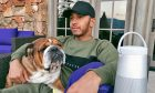 Lewis Hamilton chilling out at home with his dog, Roscoe.