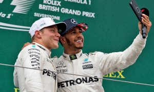 Valtteri Bottas, Lewis Hamilton, British Grand Prix podium celebrations