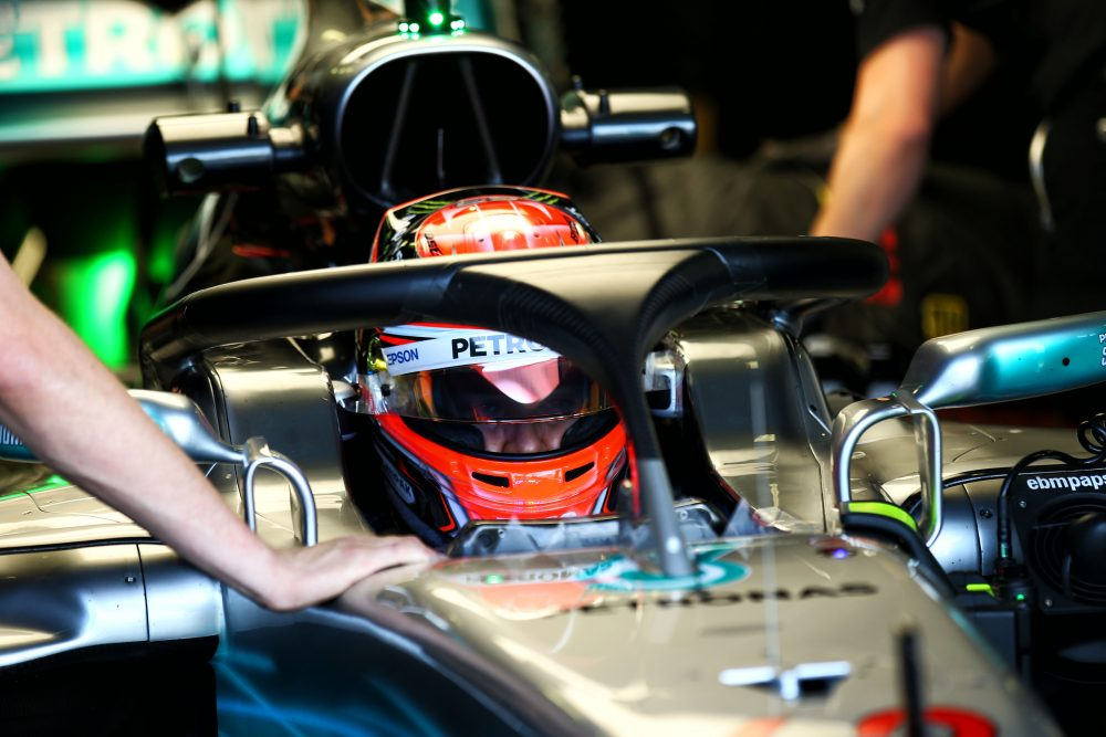 George Russell (Mercedes) testing a new version of the Halo cockpit protection device at the Hungaroring - August 2 2017.