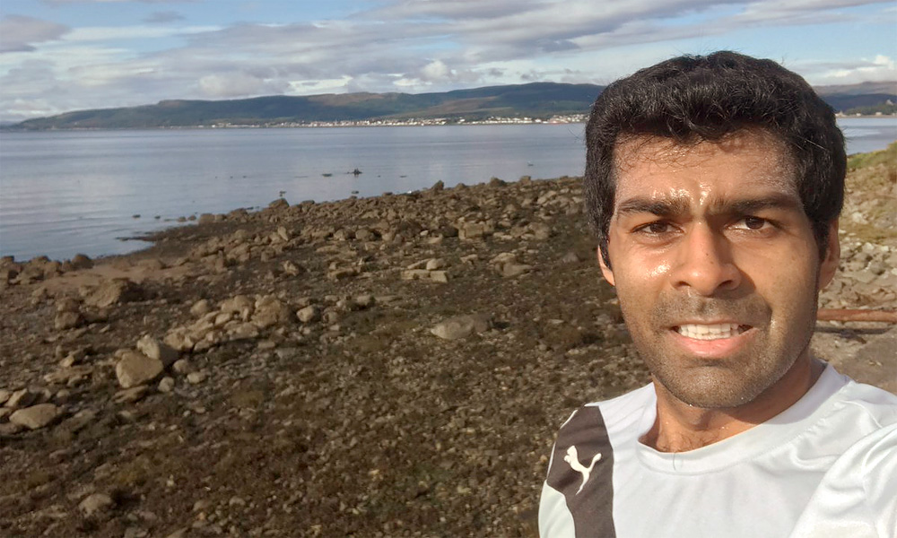 Former F1 driver turned analyst Karun Chandhok is enjoying a week off with a run around one of Scotland's beautiful lochs.