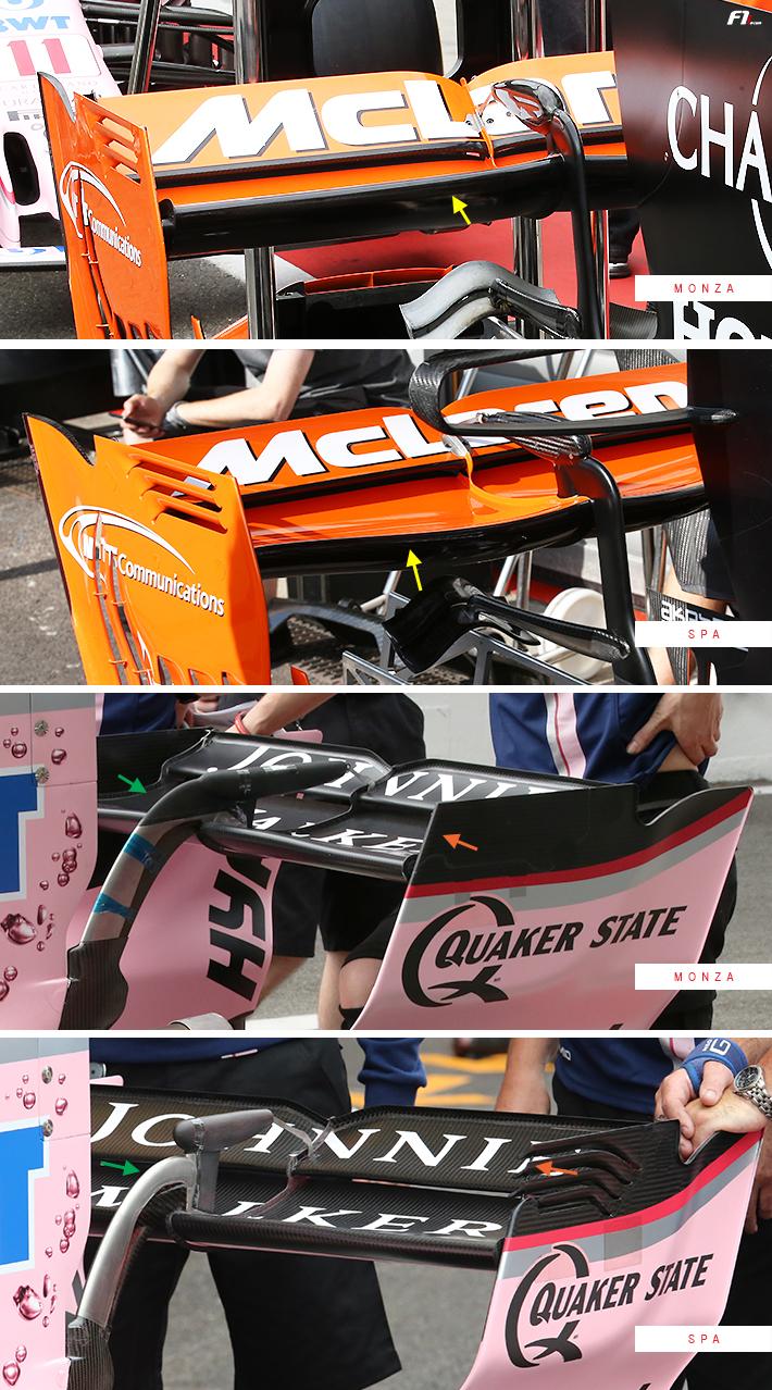 McLaren MCL32 Force India VJM10 Rear Wing Monza