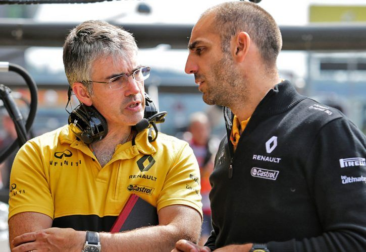 Renault technical director Nick Chester and managing director Cyril Abiteboul