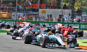 Lewis Hamilton, Mercedes, leading the Italian Grand Prix