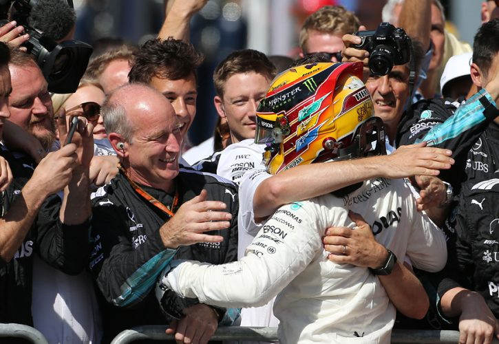 Lewis Hamilton, Mercedes, celebrates after winning Italian Grand Prix