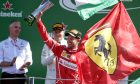 Sebastian Vettel, Ferrari, celebrates after the Italian Grand Prix