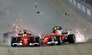 Ferrari's Sebastian Vettel and Kimi Raikkonen collide at the start of the Singapore Grand PrixCrash