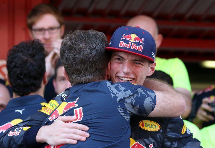 Max Verstappen and Christian Horner, Red Bull Racing