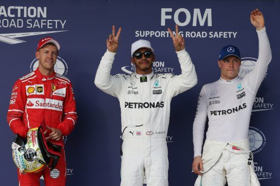 Pole for Lewis Hamilton (GBR) Mercedes AMG F1 W08, 2nd for Sebastian Vettel (GER) Ferrari SF70H and 3rd for Valtteri Bottas (FIN) Mercedes AMG F1 W08. 21.10.2017. Formula 1 World Championship, Rd 17, United States Grand Prix, Austin, Texas, USA, Qualifying Day. - www.xpbimages.com, EMail: requests@xpbimages.com - copy of publication required for printed pictures. Every used picture is fee-liable. © Copyright: Batchelor / XPB Images