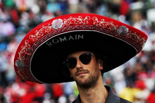 Romain Grosjean (FRA) Haas F1 Team on the drivers parade. 29.10.2017. Formula 1 World Championship, Rd 18, Mexican Grand Prix, Mexico City, Mexico, Race Day. - www.xpbimages.com, EMail: requests@xpbimages.com - copy of publication required for printed pictures. Every used picture is fee-liable. © Copyright: Photo4 / XPB Images