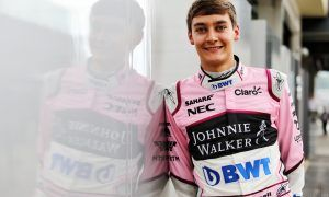 Russell dons the pink panther suit