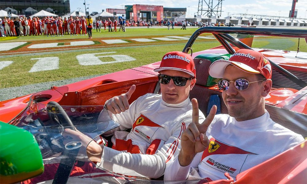 Sebastian Vettel and Kimi Raikkonen at Ferrari's 2016 Finali Mondiali event