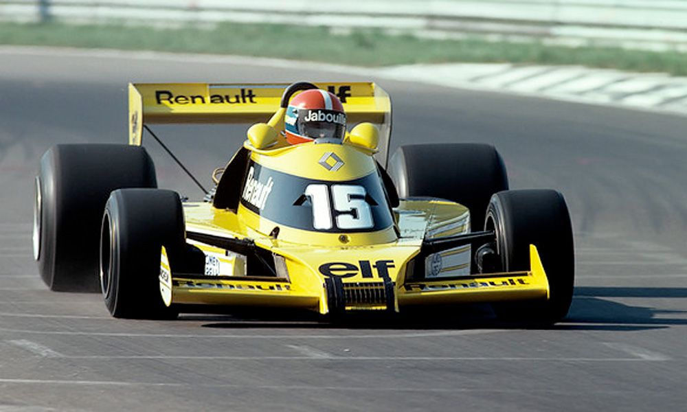 Jean-Pierre Jabouille driving the RS01, the first turbocharged car in F1 and Renault's first entry in under the banner of Equipe Renault Elf