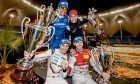 Team Germany (Rene Rast and Tomo Bernhard) celebrate victory in the Race of Champions Nations Cup, with runners up Juan Pablo Montoya and Helio Castroneves.