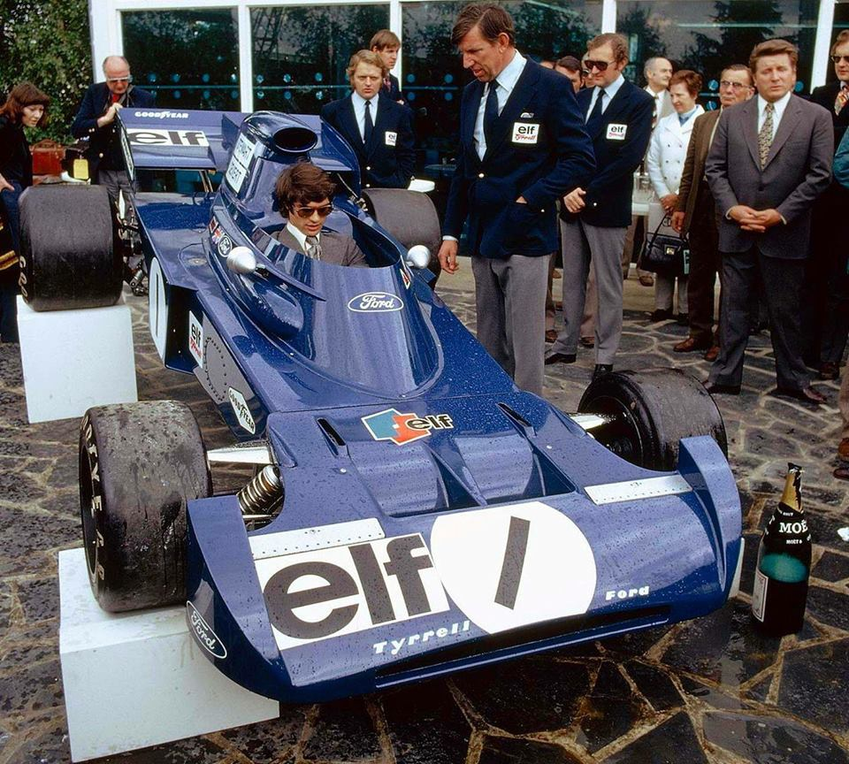 François Cevert is in the driving seat as Tyrrell unveils its 005 in 1972.