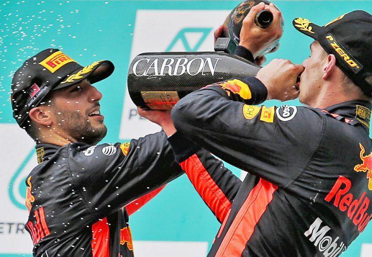 Daniel Ricciardo and Max Verstappen on the podium - 2017 Malaysian Grand Prix