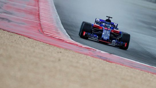 Pierre Gasly of France and Scuderia Toro Rosso performs during the filming day in MIsano, Italy on February 21, 2017