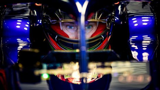 Brandon Hartley of New Zealand and Scuderia Toro Rosso prepares for driving STR13 during the filming day in MIsano, Italy on February 21, 2017