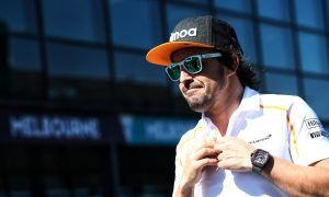 Fernando Alonso (ESP) McLaren on the drivers parade.