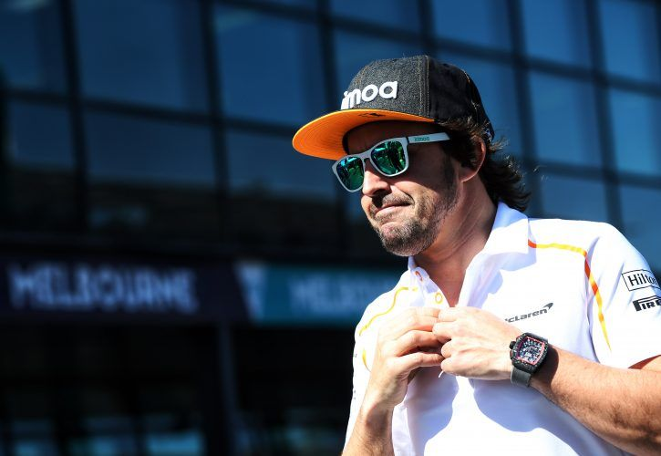 Fernando Alonso (ESP) McLaren on the drivers parade.