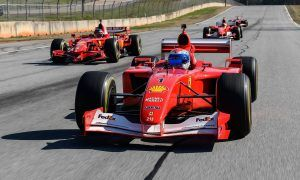 Lucky Ferrari F1 owners line up behind their tutor at Road Atlanta
