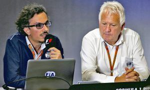 (L to R): Laurent Mekies (FRA) FIA Safety Director with Charlie Whiting (GBR) FIA Delegate