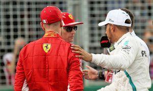 Pole sitter Lewis Hamilton (GBR) Mercedes AMG F1 with Sebastian Vettel (GER) Ferrari and Kimi Raikkonen (FIN) Ferrari in qualifying parc ferme.
