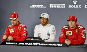 The post qualifying FIA Press Conference (L to R): Sebastian Vettel (GER) Ferrari, third; Lewis Hamilton (GBR) Mercedes AMG F1, pole position; Kimi Raikkonen (FIN) Ferrari, second.
