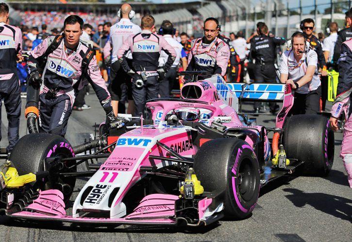 Sergio Perez (MEX) Sahara Force India F1 VJM11 on the grid.
