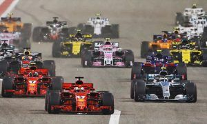 Sebastian Vettel (GER) Ferrari SF71H leads at the start of the Brahain Grand Prix