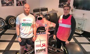 Force India accounts guru Dean Walsh and sporting director Andy Stevenson prepare for the 2018 London Marathon in support of Breast Cancer Care.