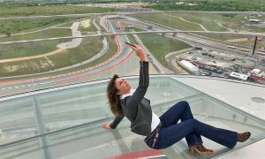 BT Sport MotoGP presenter takes a selfie at altitude at the Circuit of the Americas
