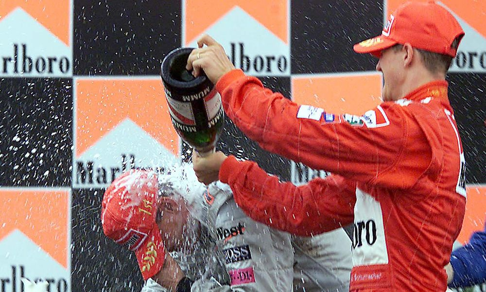 Michael Schumacher (Ferrari) and David Coulthard (McLaren) - 2001 Brazilian Grand Prix