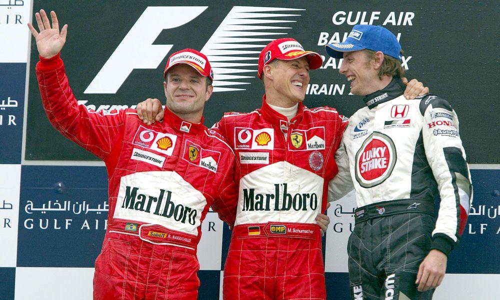 2004 Bahrain GP podium: Rubens Barrichello, BRA, Ferrari, Michael Schumacher, GER, Ferrari, Jenson Button, GBR, BAR Honda