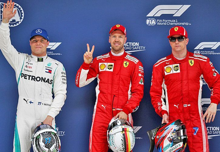 Chinese Grand Prix: Qualifying top three in parc ferme