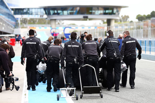 Nothing is left to chance in F1 and here the Mercedes crew practice walking to the grid.