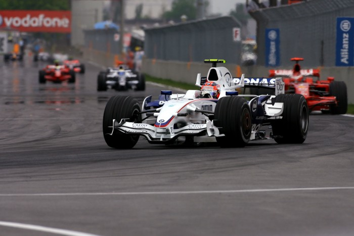 Kubica overtook  team mate Heidfeld to take command of the race a little over the halfway mark