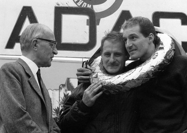 Brothers Lucien and Mauro Bianchi together on the podium after 1965 Nürburgring 500km