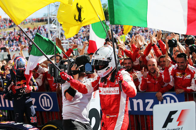 Race winner Sebastian Vettel (GER) Ferrari celebrates in parc ferme. 26.07.2015. Formula 1 World Championship, Rd 10, Hungarian Grand Prix, Budapest, Hungary, Race Day. - www.xpbimages.com, EMail: requests@xpbimages.com - copy of publication required for printed pictures. Every used picture is fee-liable. © Copyright: Moy / XPB Images